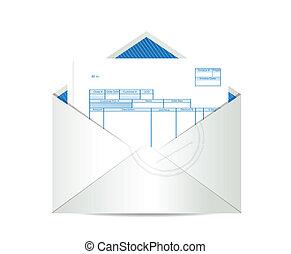 publipostage, intérieur, reçu, enveloppe, facture