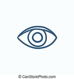 Publish content button sketch icon.