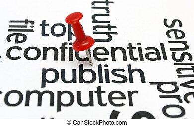 Publish - Push pin on publish text