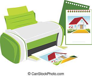 Publishing printer. Vector illustration