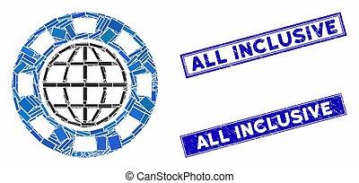 puce, casino, mosaïque, rectangle, timbres, tout, inclus, global, détresse