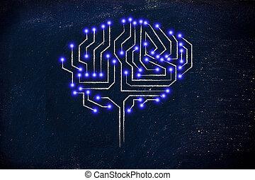 puce, circuit, cerveau, à, mené, lumières
