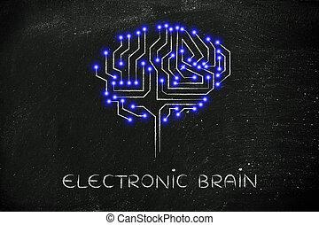 puce, circuit, cerveau, à, mené, lumières, sous-titre, électronique, cerveau