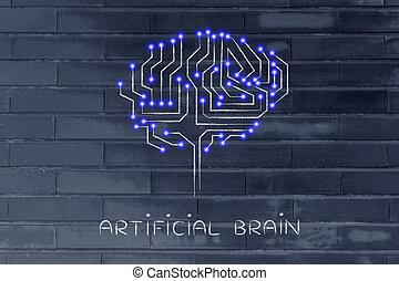 puce, circuit, cerveau, à, mené, lumières, sous-titre, artificiel, cerveau