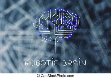 puce, circuits, à, mené, lumières, dans forme, de, a, robotique, cerveau