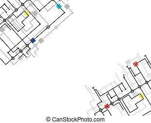 puce, illustration, micro, vecteur, planche, circuit, infographics, électronique