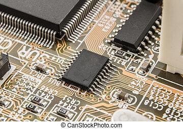 puce, informatique, macro., planche, circuit