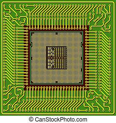 puce, moderne, informatique, processeur