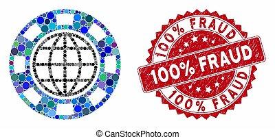 puce, timbre, mosaïque, gratté, fraude, casino, global, 100%