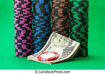 puces casino, sur, table verte, à, faire