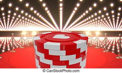 puces poker, rouges, casino, lumières, clignotant, moquette