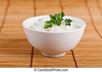 puchar, biały ryż, dekatyzowany
