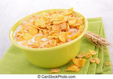 puchar, mleczny, corn-fleksy