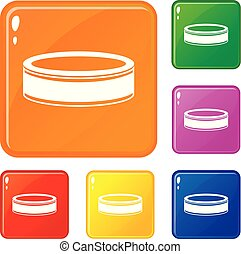 Puck icons set vector color