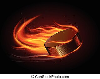 Puck In Fire - Realistic ice hockey puck in fire on black...