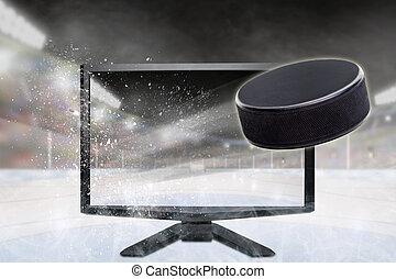 puck, tv scherm, vliegen, hockey, stadion, uit