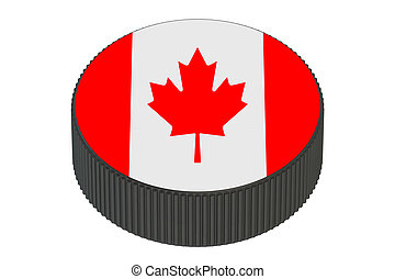 Puck with flag of Canada