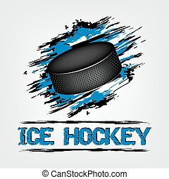 Puck with grunge effect - Ice hockey vector background with...