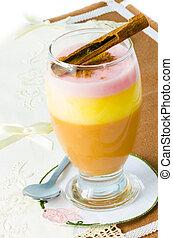 Pudding Dessert - Pudding dessert on rustic background