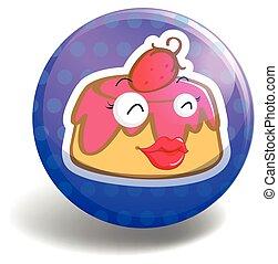 Pudding on round badge