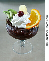 Pudding - Delicious chocolate pudding with fruits