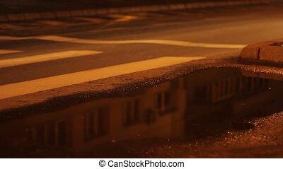 Puddle of Rain Night Traffic