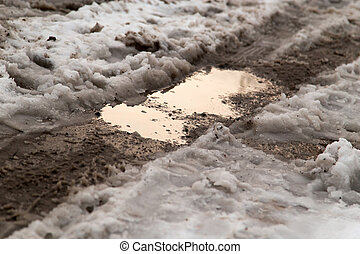 puddle on the road in winter