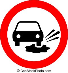 Puddles on the road warning vector sign