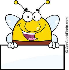 pudgy, abeille, sur, signe blanc