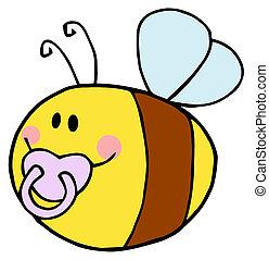 pudgy, bébé, abeille, à, a, tétines