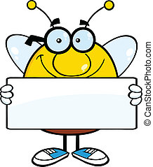Pudgy Bee Holding A Banner - Smiling Pudgy Bee Cartoon...