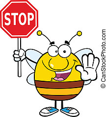 Pudgy Bee Holding A Stop Sign Cartoon Character