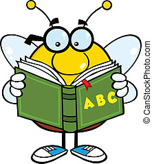 Pudgy Bee Reading A ABC Book - Pudgy Bee Cartoon Mascot ...