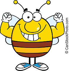 Smiling Pudgy Bee Cartoon Mascot Character Showing Muscle Arms