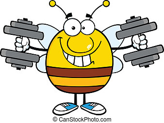 Pudgy Bee Training With Dumbbells