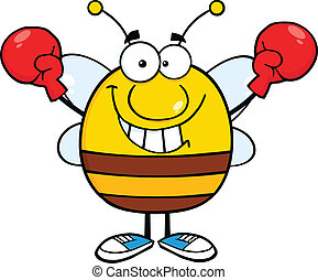 Pudgy Bee Wearing Boxing Gloves