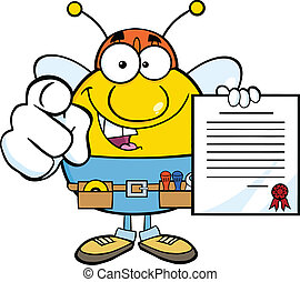 Pudgy Bee Worker Holding A Contract - Pudgy Bee Worker...