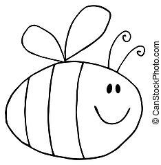 pudgy, esquissé, abeille