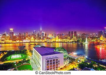 pudong, noche, edificio, rascacielos, vista, ciudad, china., shanghai