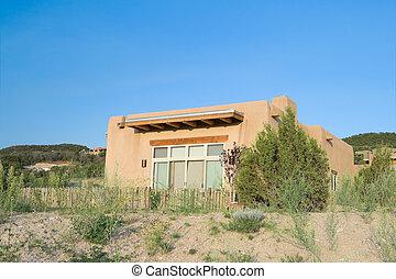 puebló indián, család, feléledés, mexikó, épület, külvárosi, modern, épület, egyedülálló, építészet, szent, spanyol, új, fe