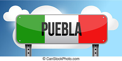 Puebla Mexico road street sign illustration
