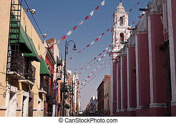 puebla old town street