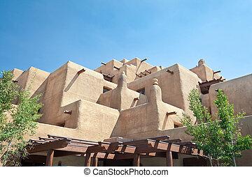 pueblo, adobe, construit, mexique, hôtel, fe, santa,...