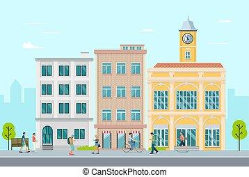 pueblo, around., gente, exterior, ambulante, calle, moderno, ocio, concept., buiding, apartamento, vector, pueblo, illustration., plano
