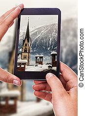 pueblo, austríaco, el fotografiar