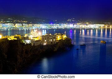 pueblo, azul, ibiza, luces, mar, noche, puerto