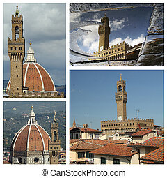 pueblo, c, collage, vecchio, imágenes, palazzo, florencia, vestíbulo