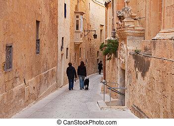 pueblo, calle, viejo, europeo