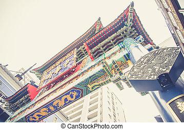 pueblo, china, simbólico, yokohama, puerta