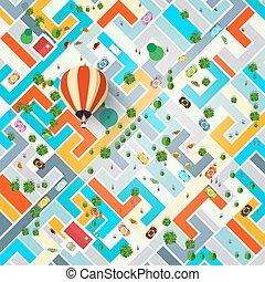 pueblo, ciudad, aéreo, illustration., balloon., cima, calles...